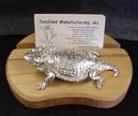 "Horny Toad Business Card Holder w/ 4"" Short Horned Hood Ornament"